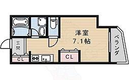 阪急今津線 仁川駅 徒歩1分の賃貸アパート 3階1Kの間取り