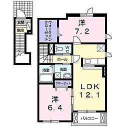 和歌山県和歌山市杭ノ瀬の賃貸アパートの間取り