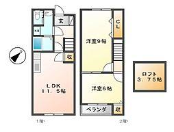 愛知県日進市梅森町上松の賃貸アパートの間取り