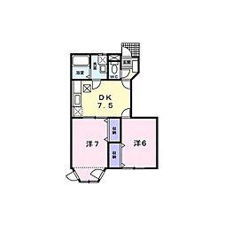 メゾンクレストB[1階]の間取り