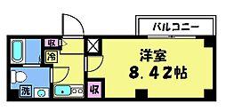 キャンバスKM 3階1Kの間取り