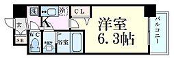 京阪本線 天満橋駅 徒歩5分の賃貸マンション 4階1Kの間取り
