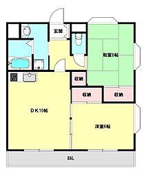 兵庫県神戸市垂水区舞子坂3丁目の賃貸アパートの間取り