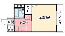 兵庫県西宮市南昭和町の賃貸アパートの間取り