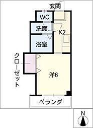 安田学研会館中棟(オートロック)[2階]の間取り