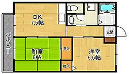 ベルコモン甲子園[2階]の間取り