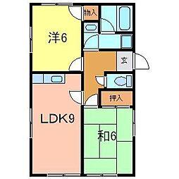 水越アパート[B号室]の間取り