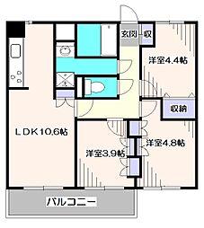 東京都小平市小川東町の賃貸マンションの間取り
