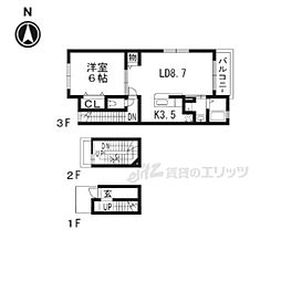 近鉄京都線 向島駅 徒歩11分の賃貸アパート 3階1DKの間取り