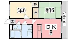 兵庫県姫路市飾磨区城南町の賃貸マンションの間取り