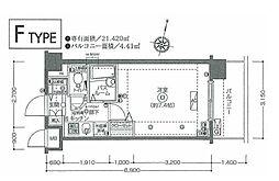 JR南武線 鹿島田駅 徒歩9分の賃貸マンション 2階1Kの間取り