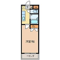 コタージュ壱番館[0101号室]の間取り