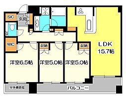 東京都国立市中2丁目の賃貸マンションの間取り