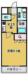メゾン・ゼラニューム 2階1Kの間取り