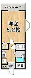 パル塚本 3階1Kの間取り