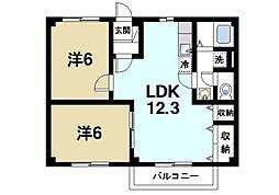 奈良県生駒市小瀬町の賃貸アパートの間取り