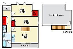 テイケンフクオカI 3階2SLDKの間取り