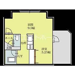パークヒルズイースト23A(家具家電付) 8階1LDKの間取り