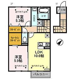 D-roomエンゼル[202号室]の間取り