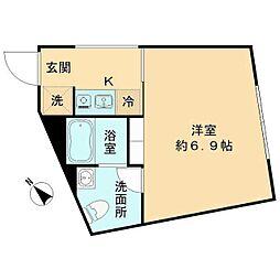 The KOISHIKAWA(ザ小石川) 3階1Kの間取り