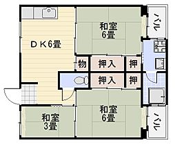 ビレッジハウス伏屋8号棟[403号室]の間取り