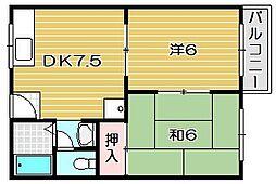 矢頭ハイツB棟[1階]の間取り