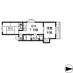 ポジティーボ小阪[A102号室号室]の間取り