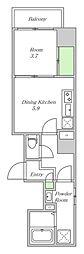 Osaka Metro中央線 阿波座駅 徒歩1分の賃貸マンション 7階1DKの間取り