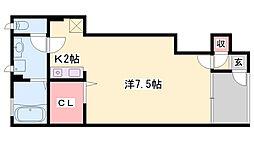 JR姫新線 姫路駅 バス20分 八代本町下車 徒歩2分の賃貸アパート 1階ワンルームの間取り