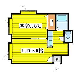 北海道札幌市東区北十八条東13丁目の賃貸アパートの間取り
