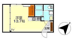 M・テラス広古新開 −エイトホーム− 2階ワンルームの間取り