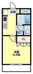 愛知県豊田市越戸町安貝戸の賃貸アパートの間取り