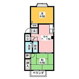 エステート赤坪 B棟[1階]の間取り