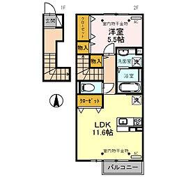 仮)D-room蜷川 A[2階]の間取り