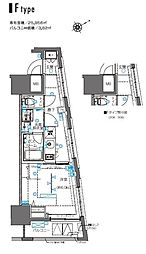 ZOOM横浜桜木町 4階1Kの間取り