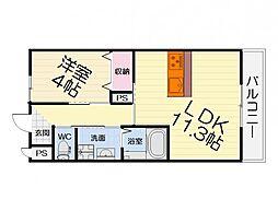 JR阪和線 和泉府中駅 徒歩9分の賃貸マンション 1階1LDKの間取り