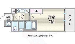 Osaka Metro四つ橋線 肥後橋駅 徒歩8分の賃貸マンション 7階1Kの間取り