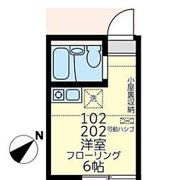 神奈川県横浜市磯子区栗木2丁目の賃貸アパートの間取り