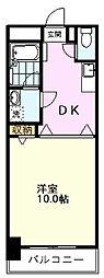 JR中央線 国分寺駅 徒歩3分の賃貸マンション 6階1DKの間取り