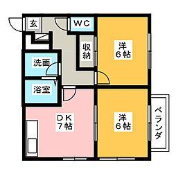愛知県岩倉市神野町又市の賃貸アパートの間取り