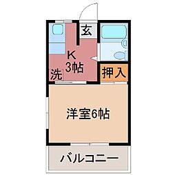 山梨県甲府市富士見1丁目の賃貸アパートの間取り