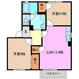 三重県四日市市松寺1丁目の賃貸アパートの間取り