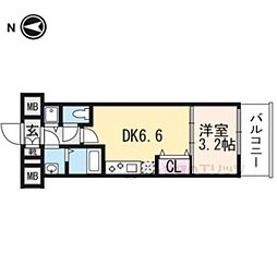 京都市営烏丸線 九条駅 徒歩6分の賃貸マンション 2階1DKの間取り