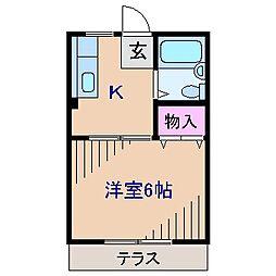 神奈川県横浜市港北区大倉山4丁目の賃貸アパートの間取り