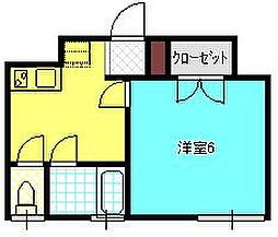 JR中央線 東小金井駅 徒歩13分の賃貸アパート 1階1Kの間取り