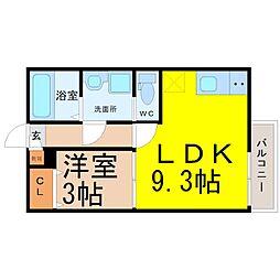 植田西一丁目アパート[3階]の間取り