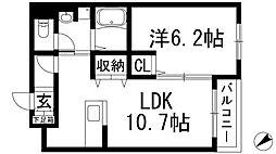 兵庫県伊丹市中野北2丁目の賃貸アパートの間取り