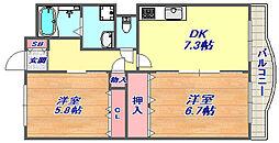 兵庫県神戸市灘区大内通3丁目の賃貸マンションの間取り