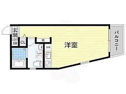 南海高野線 百舌鳥八幡駅 徒歩8分の賃貸マンション 3階ワンルームの間取り