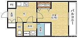 レジュールアッシュ淡路駅前 2階1Kの間取り